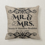 Rustic Burlap Look Mr. and Mrs. Wedding Pillows