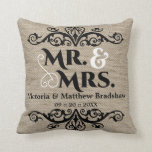 Rustic Burlap Look Mr. And Mrs. Wedding Throw Pillow at Zazzle