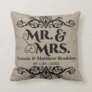 Rustic Burlap Look Mr. and Mrs. Wedding Throw Pillow