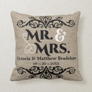 Rustic Burlap Look Mr. and Mrs. Wedding Throw Pillows