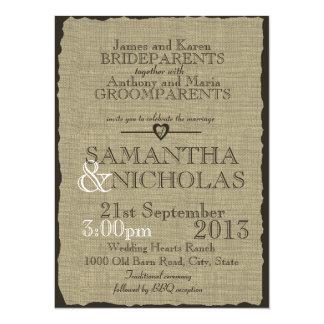 Rustic Burlap Look Wedding 5.5x7.5 Paper Invitation Card