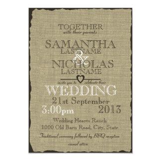 Rustic Burlap Look Wedding 5x7 5x7 Paper Invitation Card