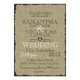 Rustic Burlap Look Wedding 5x7 Invites