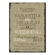Rustic Burlap Look Wedding Personalized Invites
