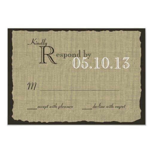 Rustic Burlap Look Wedding Response 3.5x5 Paper Invitation Card