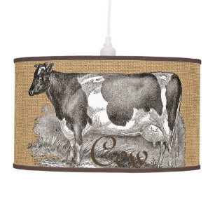 Rustic Burlap Look With Farmhouse Cow Ceiling Lamp