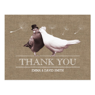 Rustic Burlap Love Birds Thank You Post Cards