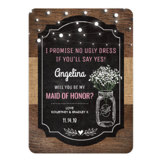 Rustic Burlap Maid of Honor Wedding | Mason Jar Card