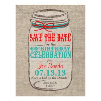 Rustic Burlap & Mason Jar 60 Birthday Invite Postcard