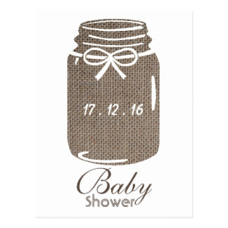Rustic Burlap Mason Jar Baby Shower Invitation Postcard