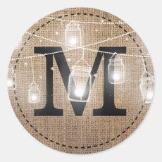 Rustic Burlap Mason Jar Monogram