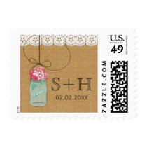 Rustic burlap mason jar personalized stamps