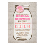 Rustic Burlap Mason Jar Pink Gerbera Bridal Shower 5x7 Paper Invitation Card