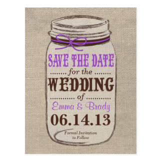 Rustic Burlap & Mason Jar Save the Date Postcard
