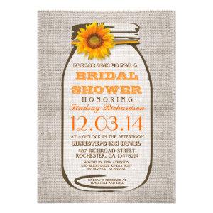 Rustic Burlap Mason Jar Sunflower Bridal Shower Cards