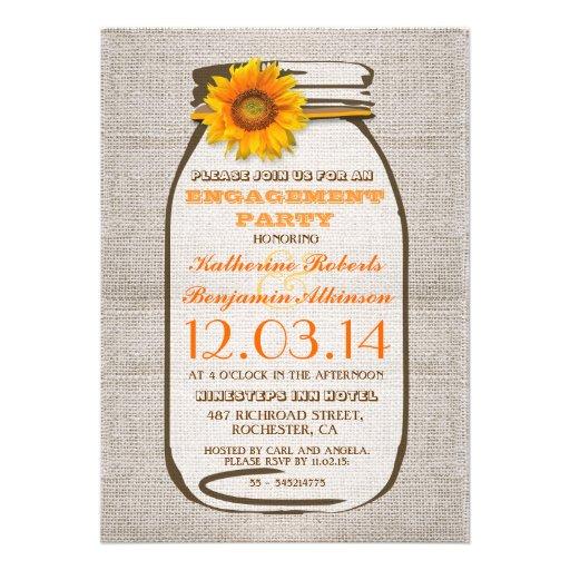 Rustic Burlap Mason Jar Sunflower Engagement Party Announcements