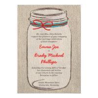 Rustic Burlap & Mason Jar Wedding Invitation