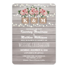 Rustic Burlap Mason Jar Wedding | Roses Invitation