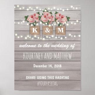 Rustic Burlap Mason Jar Wedding | Roses Welcome Poster