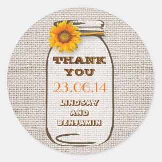 Rustic Burlap Mason Jar Wedding Sunflower Classic Round Sticker