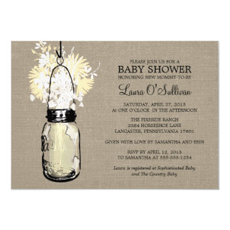 Rustic Burlap Mason Jar Wildflowers Baby Shower 5x7 Paper Invitation Card