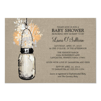 Rustic Burlap Mason Jar Wildflowers Baby Shower Card