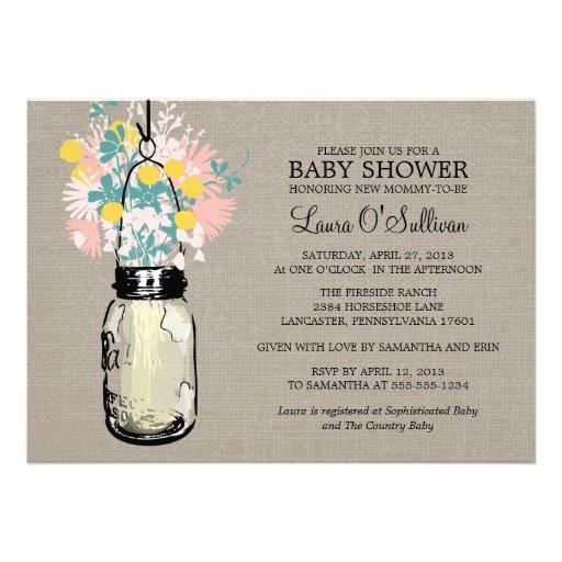 rustic burlap mason jar wildflowers baby shower 5 x 7 invitation