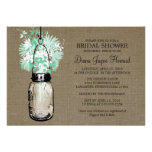 Rustic Burlap Mason Jar Wildflowers Bridal Shower Invites