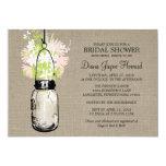 Rustic Burlap Mason Jar Wildflowers Bridal Shower Cards