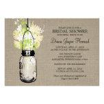 Rustic Burlap Mason Jar Wildflowers Bridal Shower Personalized Invitations