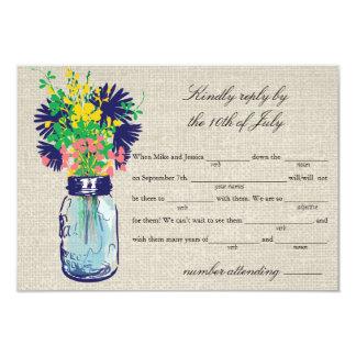 "Rustic Burlap Mason Jar & Wildflowers RSVP Lib 3.5"" X 5"" Invitation Card"