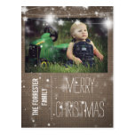 Rustic Burlap Merry Christmas Stars Family Photo Post Card