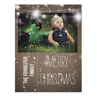 Rustic Burlap Merry Christmas Stars Family Photo Postcard