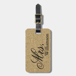 Rustic Burlap Mrs Travel Luggage Tag Newly Weds