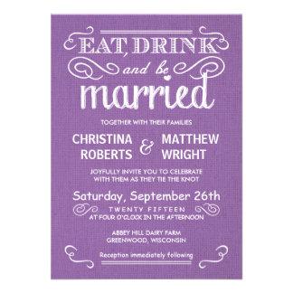 Rustic Burlap Orchid Purple Wedding Invitations