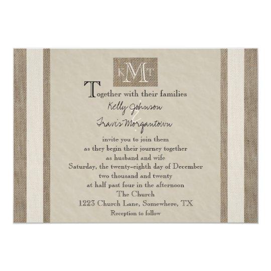 Rustic Burlap Parchment Look Wedding Invitation