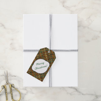 Rustic Burlap Pattern Green with Text Greeting Gift Tags