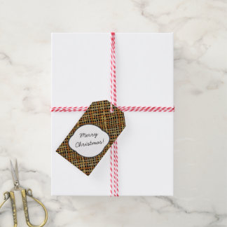 Rustic Burlap Pattern Grey with Text Greeting Gift Tags