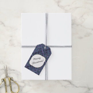 Rustic Burlap Pattern Indigo with Text Greeting Gift Tags