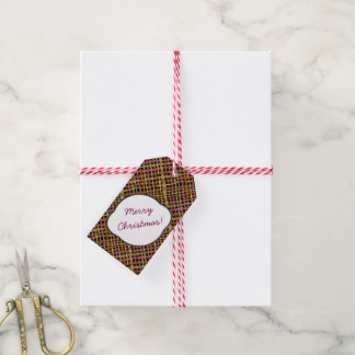 Rustic Burlap Pattern Pink with Text Greeting Gift Tags