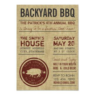 Rustic Burlap Personalized BBQ Invitations