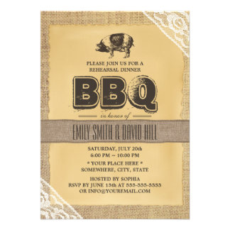 Rustic Burlap Pig Roast BBQ Rehearsal Dinner Custom Invitation