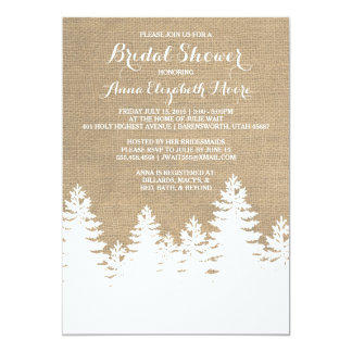 Rustic Burlap Pine Trees Winter Bridal Shower Card