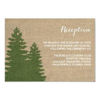 Rustic Burlap Pine Trees Winter Reception Card