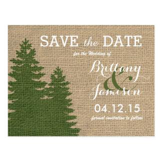 Rustic Burlap Pine Trees Winter Save the Date Postcard
