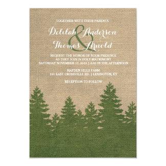 Rustic Burlap Pine Trees Winter Wedding Invitation