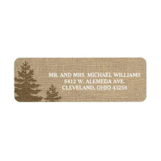 Rustic Burlap Pine Trees Winter Wedding Labels