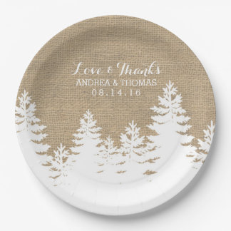 Rustic Burlap Pine Trees Winter Wedding Plates