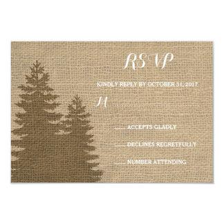 Rustic Burlap Pine Trees Winter Wedding RSVP Card