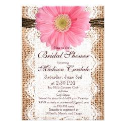 Rustic Burlap Pink Daisy Bridal Shower Invitations
